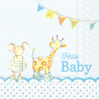 Hello Baby Light Blue Lunch Napkins