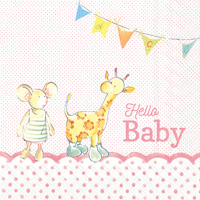 Hello Baby Light Rose Lunch Napkins