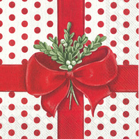 A Present for You White Red Lunch Napkins