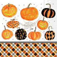 Rosanne Beck Plaid Pumpkins Lunch Napkins