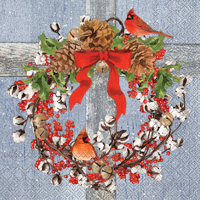 Cotton Christmas Wreath Lunch Napkins