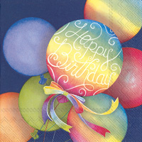 Rainbow Balloons Blue Lunch Napkins