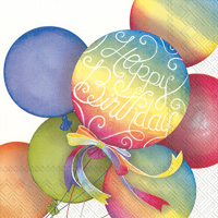 Rainbow Balloons White Lunch Napkins