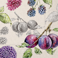 Delicious Plums Linen Lunch Napkin