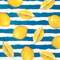 Summer Lemons Blue Lunch Napkins