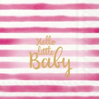 Hello Little Baby Light Rose Lunch Napkins