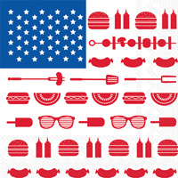 Eat Drink Host Stars & Stripes Cookout Lunch Napkins