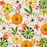 Colourful Pumpkins Cream Lunch Napkin