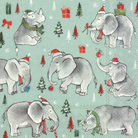 Wild Christmas Light Blue Lunch Napkin
