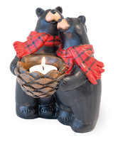 Black Bear Duo Tealight Holder