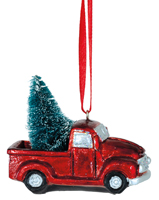 Red Truck with Tree Ornament