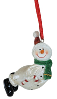 Luster Candy Cane Snowman Ornament
