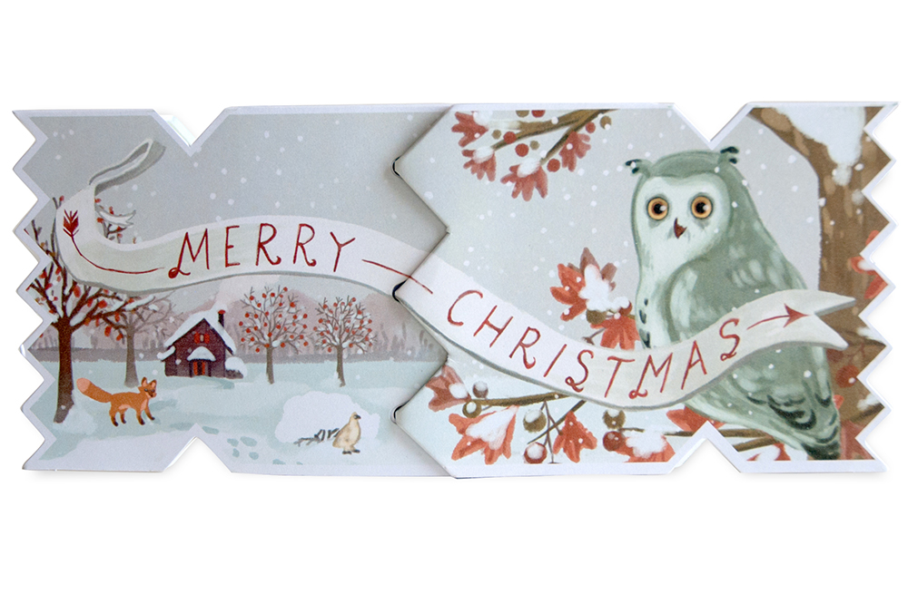 winter woodland home decor the collection.htm my design co winter woodland owl cracker card  winter woodland owl cracker card