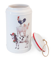 Christmas on the Farm Cookie Jar