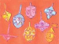 The MET Podwal Eight Dreidels for Hanukkah Holiday Cards