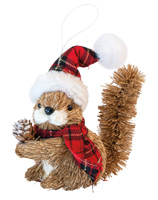 Squirrel Ornament with Plaid Hat & Scarf