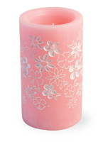 Pink Floral LED Candle