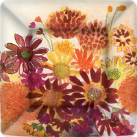 Bunch of Fall Flowers Dinner Paper Plates