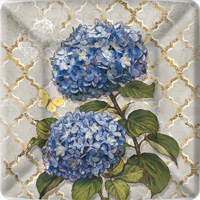 Blue Heirloom Flowers Square Paper Dinner Plates
