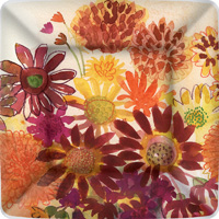 Bunch of Fall Flowers Dessert Paper Plates