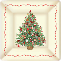 Christmas Tree Square Paper Dessert Plates