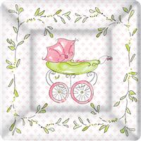 Rosanne Beck Pink Baby Carriage Dessert Plates