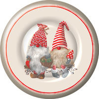 Friendly Tomte Red Round Paper Dinner Plates