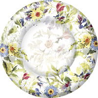 Packed Flowers Round Paper Dinner Plate