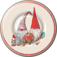 Friendly Tomte Red Round Paper Dessert Plates