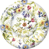 Packed Flowers Round Paper Dessert Plate