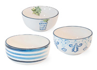 Blue Topiary Bowl Set