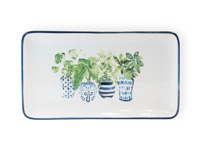 Blue Topiary Rectangle Plate