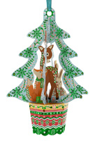 Santoro Woodland Animals Tree Bauble Card