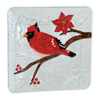 Red Cardinal Glass Plate