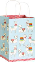 Happy Llamas Light Blue Square Gift Bag