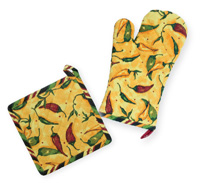 Pepper Toss Oven Mitt & Pot Holder Set