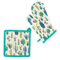 My Little Green Cactus Oven Mitt & Pot Holder Set