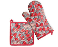 Mittens Grey Pot Holder & Oven Mitt Set