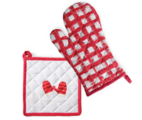 Mittens Red Pot Holder & Oven Mitt Set
