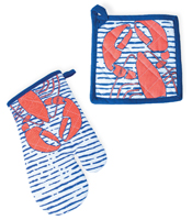 Waterline Lobster Oven Mitt & Pot Holder Set