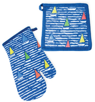 Waterline Boats Oven Mitt & Pot Holder Set