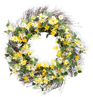 Yellow & White Daisies Wreath