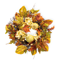 White Flowers & Gourds Wreath