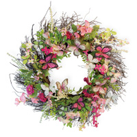Pink Flower & Butterfly Wreath