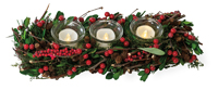 Red Berry Triple Tealight Holder