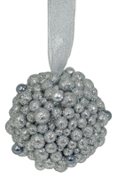 Silver Glitter Ball Ornament