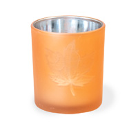 Copper Glass Leaf Tealight Holder Small