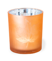 Copper Glass Leaf Tealight Holder Medium