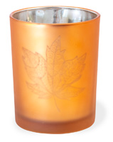 Copper Glass Leaf Tealight Holder Large