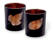 Glass Leaf Tealight Holders Black